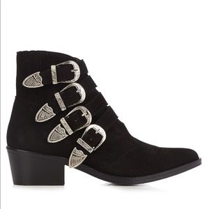 BLACK BUCKLE ANKLE BOOTS VEGAN SUEDE SIZE 7